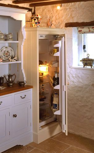 How a 21st century fridge is hidden in a centuries old cottage.