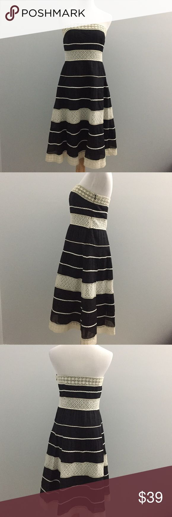 "Ann Taylor Dress 6P Sleeveless petite pleated crochet trim dress in great condition. Great condition. Genty loved  Approximate measurements: Total length: 34.5"" Bust: 15.5"" Ann Taylor Dresses Midi"