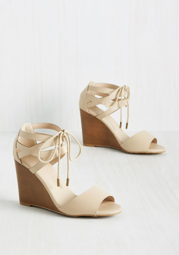 Espresso Your Love Wedge in Cream. If you have a passion for both fashion and fantastic brews, lace up these wedges and live up the best of both worlds. #tan #modcloth