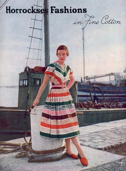 Horrocks Fashion, moda desde la percha, anuncio realizado en 1950 para VOGUE UK,