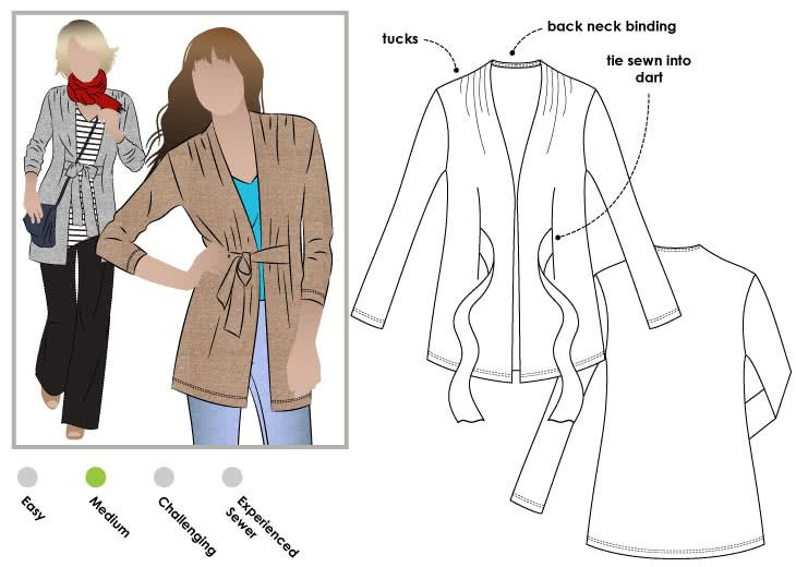 Terry Tie Cardi Sewing Pattern By Style Arc pin20