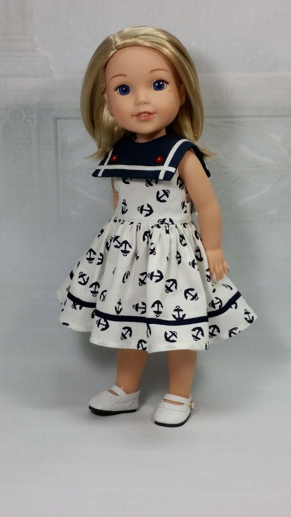 Doll Clothing, Wellie Wisher Sailor Dress with Navy Collar and Back Tie, American made to fit 14 1/2 Girl Dolls