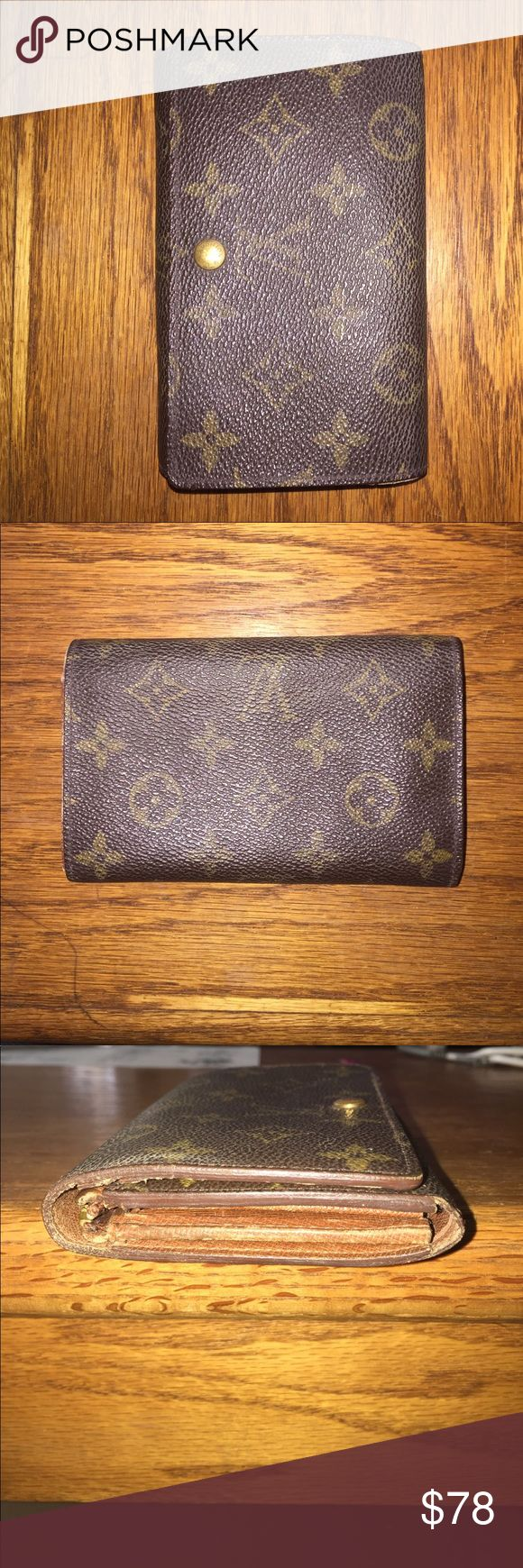 Authentic Louis Vuitton wallet Authentic Louis Vuitton snap wallet 5 compartments zipper compartment is broken and missing zipper pull sighns of wear. No rips or tears stitching is good just needs zipper repair Louis Vuitton Bags Wallets