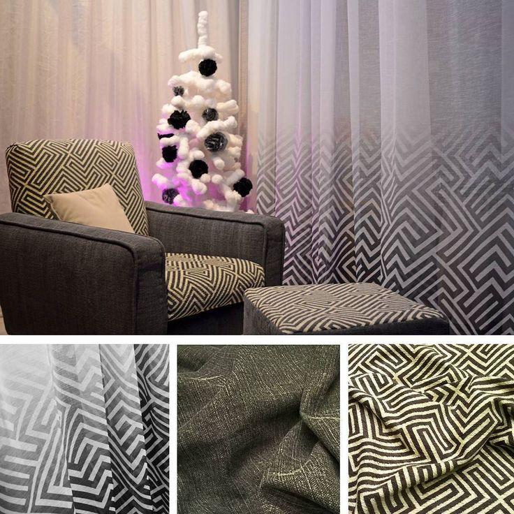 Coordinato di geometrie eleganti e moderne.  Poltrona e pouf realizzati in tessuto geometrico Jacquard e tessuto unito lavorato StoneWash abbinati a tenda con disegno geometrico in sfumatura.  #natale #tessuti #tenda #tendaggi #tappezzeria #poltrona #pouf #artigianale #artigianato #arredamento #GammaTessuti #GammaTendaggi #stonewashed #jacquard #geometrie #coordinato #moderno #bianco&nero #buonefeste