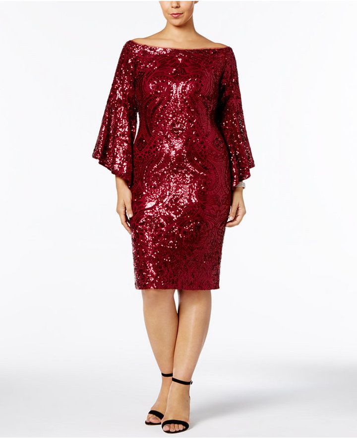 Betsy & Adam Plus Size Sequined Bell-Sleeve Dress | Products ...