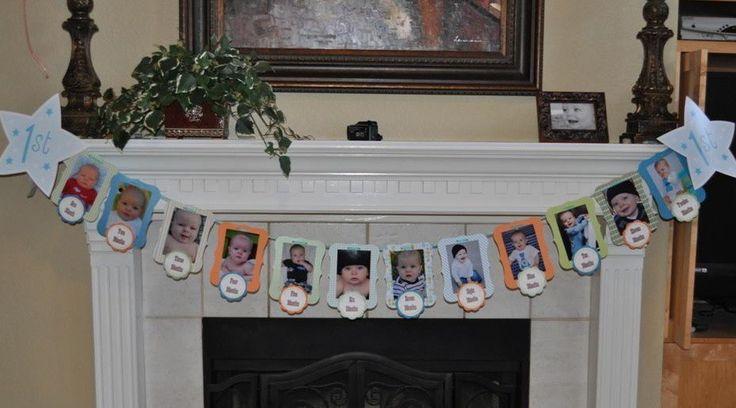 Birthday Decoration, First Birthday Photo Banner, Custom Theme, Party Decor, First Boy Birthday, Girl Birthday. $32.50, via Etsy.