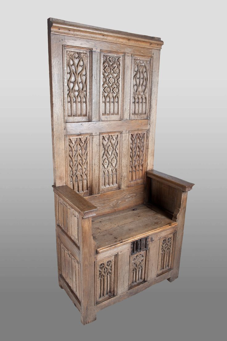 Gothic high backed bench, circa 1480 - 1500, Marhamchurch antiques