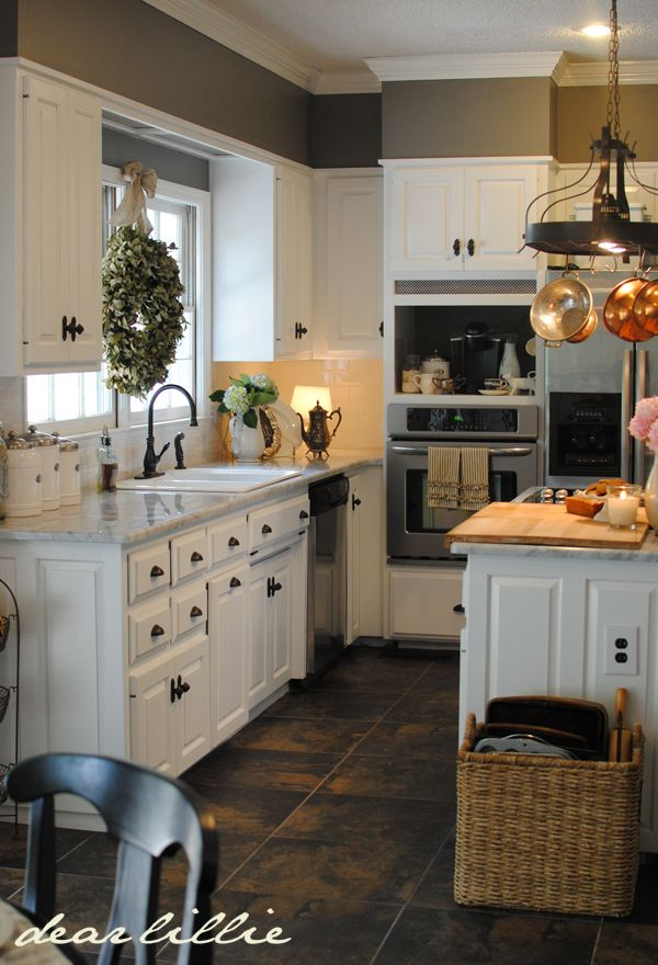 Kitchen White Cabinets & Gray Walls. Matt & Meredith's Kitchen Makeover featured by Jennifer at Dear Lillie blog. Wall Color: Benjamin Moore Chelsea Gray,Cabinet Color: Benjamin Moore Simply White