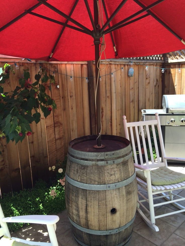 Wine Barrel Umbrella Stand In 2019 Patio Umbrella Stand