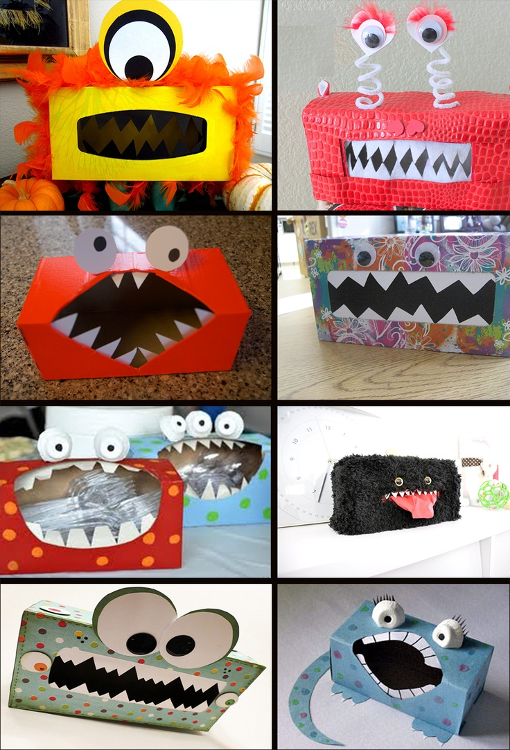 Monster Tissue Boxes! Use for decoration, or to hold your silverware at your halloween party! #halloween #monster #party #decorations