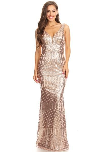 02f0ba08c9f Floor Length Rose Gold Sequin Maxi Dress Bridesmaid Gown XS - 3XL in ...
