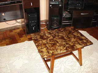 Artesanatos: Mesa de centro decorada com filtro de papel melita...Arte de Dine e Stefania...