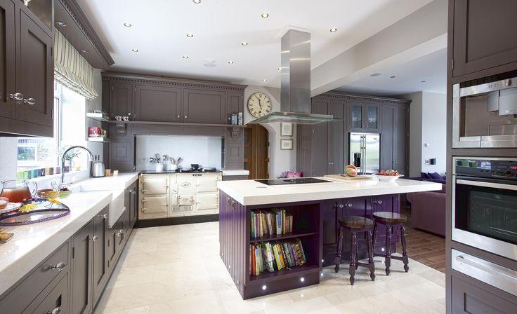 farrow & ball kitchen - London Clay cabinets and Pelt island