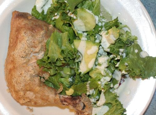 Tandouri Chicken with Salad and Creamy Garlic Dressing, suitable for a Candida Cleanse, image by Monica Holy