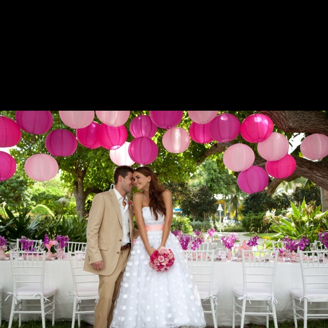 Pink lanterns for the outdoor reception, we could use these inside too..in blue, of course!