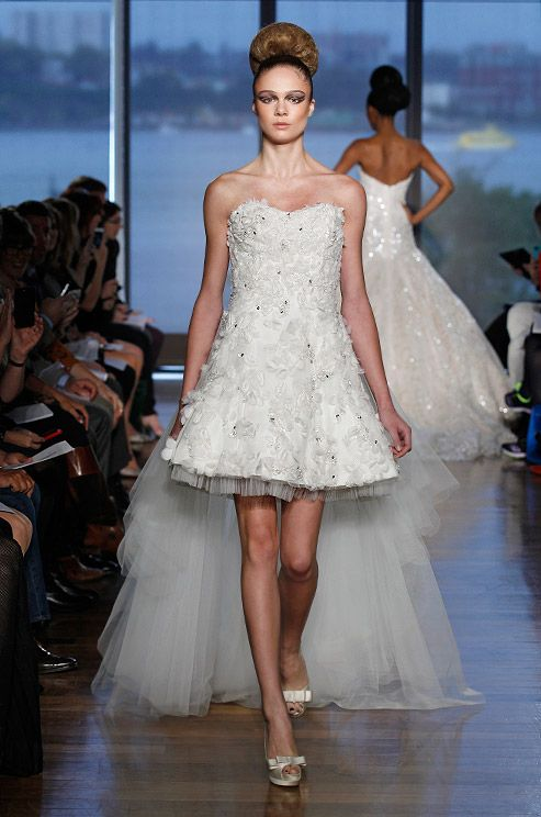 Cute Short Wedding Dress With Tulle Train Ines Di Santo Fall 2014