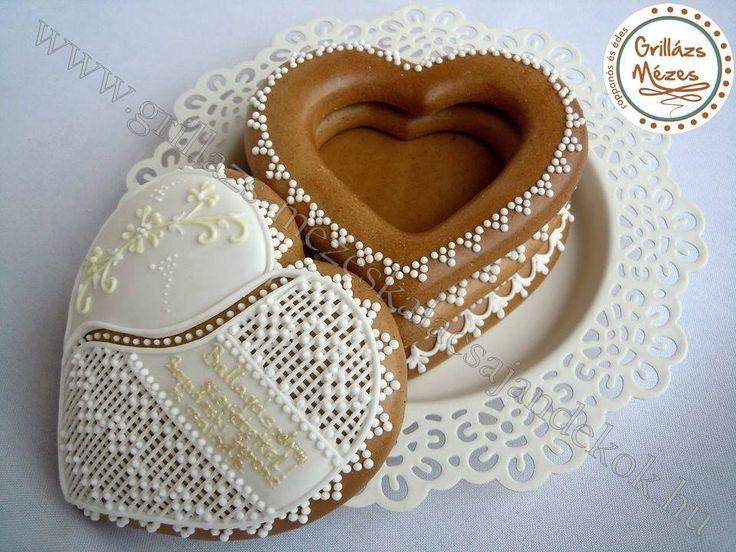 Mézeskalács szívdoboz- boríték helyett