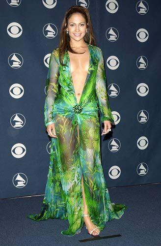 Jennifer Lopez Plunging Green Versace dress 2000 Grammy Awards.