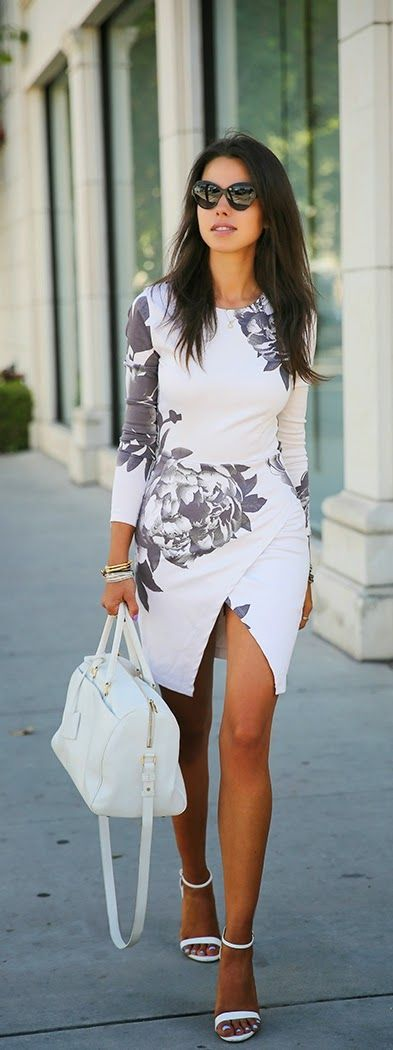 Sexy and Classic Floral Front Slit Dress with White Pumps | Chic Sping Outfits