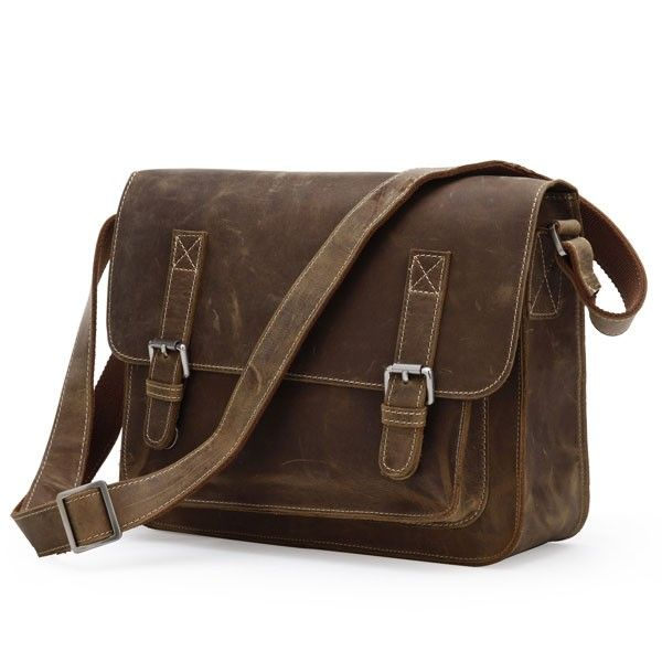 Leather Men's Dark Messenger Bag via Vintage Leather Bags. Click on the image to see more!
