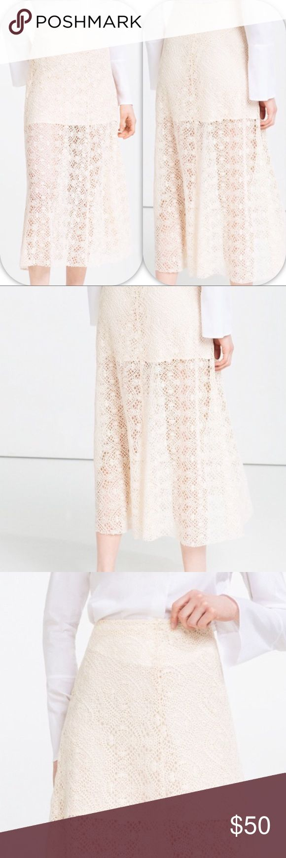 NWT ZARA WOMAN LACE LAYER MIDI SKIRT - - Small Brand: Zara Woman Lace layer midi skirt beige          Condition: New with tag || Size Small   📌NO  TRADES  🛑NO LOWBALL OFFERS  ⛔️NO RUDE COMMENTS  🚷NO MODELING  ☀️Please don't discuss prices in the comment box. Make a reasonable offer and I'll either counter, accept or decline.   I will try to respond to all inquiries in a timely manner. Please check out the rest of my closet, I have various brands. Some new with tag, others in excellent Cd…