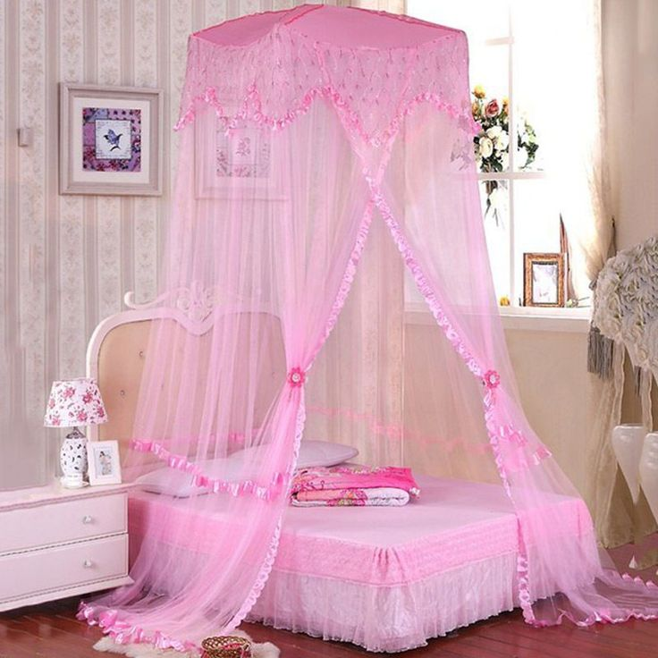 Hot Home Bedding Mosquito Net Ceiling Lace Princess Bed  Elegant Landing Canopy