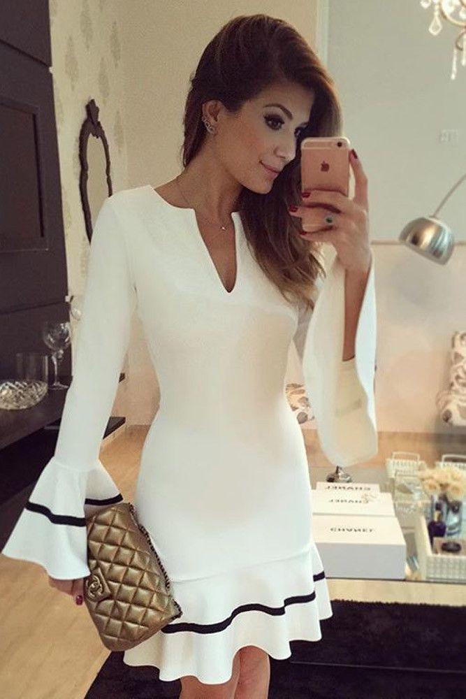 White Long Sleeve Pencil Sheath Mini Dress