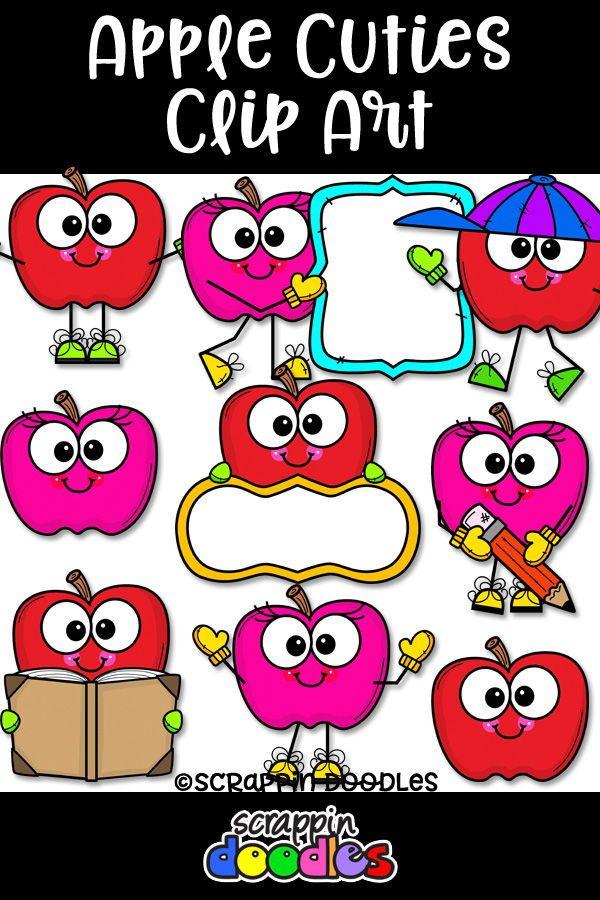 Apple Cuties Clip Art | Clip Art & Fonts | Art, Apple clip