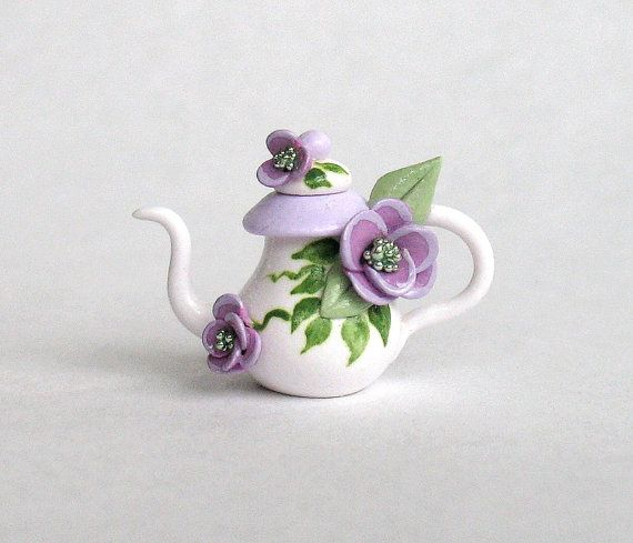 Miniature Lavender Jeweled Blossom Teapot OOAK by ArtisticSpirit