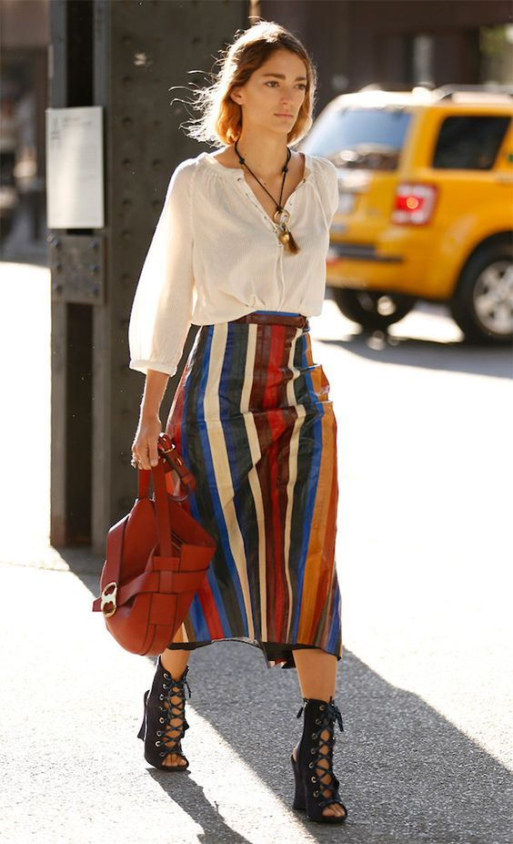 Calf Lenght Skirt with Stripes and Strappy Heels