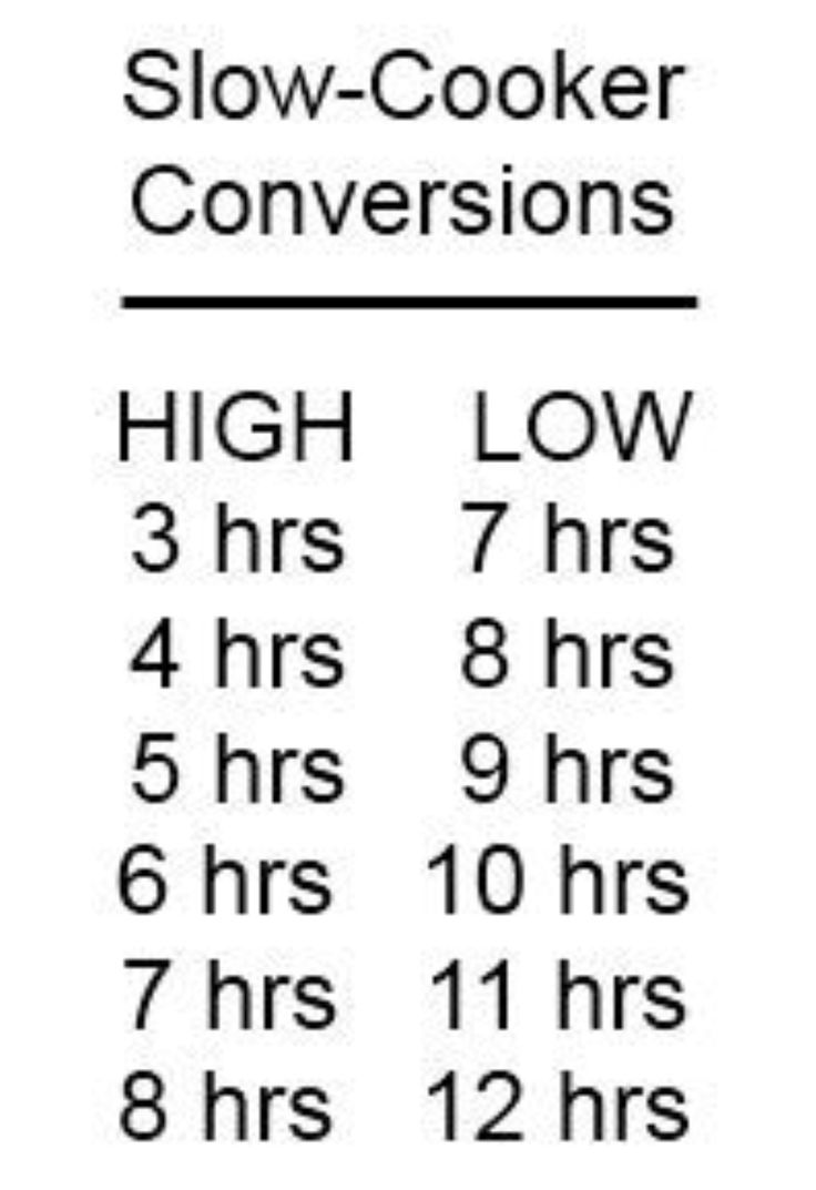 Slow Cooker Time Conversion Chart High To Low.