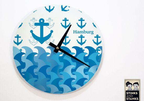 Wanduhr WU011 Hamburg Anker von STINKSANDSTANKS auf DaWanda.com