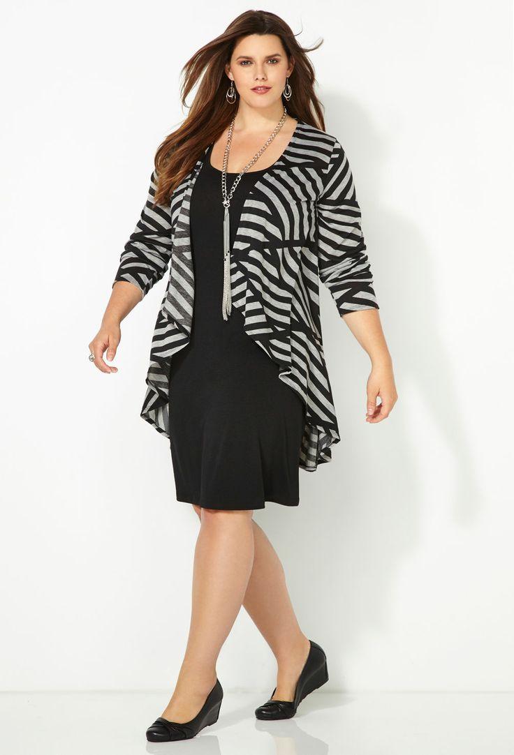 Grey Striped Jacket Dress-Plus Size Jacket Dress-Avenue[ HGNJShoppingMall.com ] #fashion
