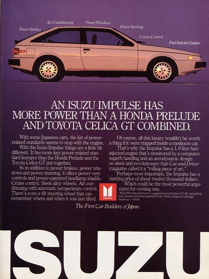 The Isuzu Piazza/Impulse Was An Ace Turbo Hatchback