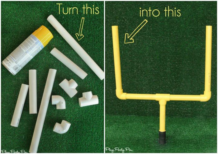 Make this DIY field goal post project to use for a fun football party game, football party prop, or even just for your kids to use to play with!