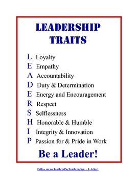 Display this Leadership Traits poster in your classroom to inspire your students to become leaders!...