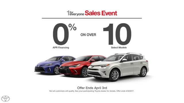 AbanCommercials: Toyota TV Commercial  • Toyota advertsiment  • Deals For Everyone - Toyota 1 For Everyone Sale • Toyota Deals For Everyone - Toyota 1 For Everyone Sale TV commercial • From financing offers to great lease deals, there's a Toyota deal for everyone during our 1 For Everyone Sale.