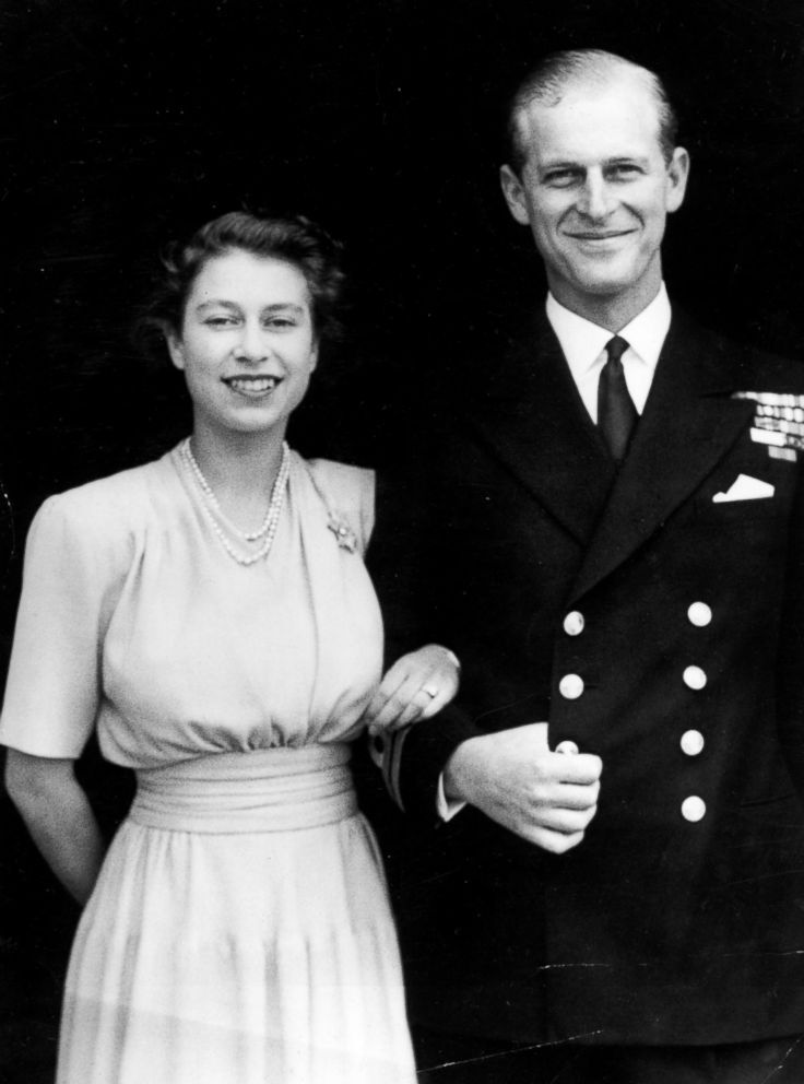 PHOTO: The first official portrait of Princess Elizabeth and Lieutenant Philip Mountbatten at Buckingham Palace in London, July 10, 1947, after the announcement of their engagement.