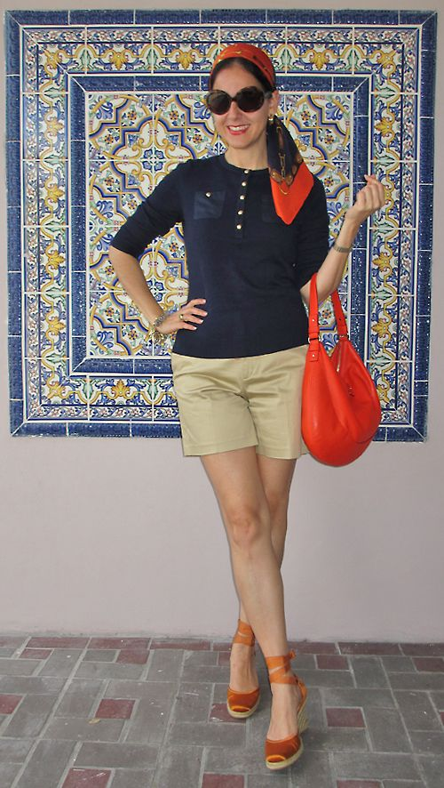 Ralph Lauren Cotton Sweater, Cotton Sateen Shorts, Silk Scarf, and Sunglasses; Kate Spade Leather Bag; Nine West Satin Espadrilles; Lenora Dame Charm Bracelet; and Raymond Weil Toccata Watch.   Mediterranean-vibe outfit for a weekend stroll or a classy beach walk.  http://www.akeytothearmoire.com/post/21909033281/mediterranean