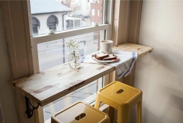 Use shelf across window fir table/bar