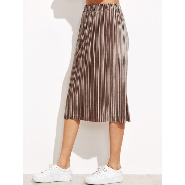 Khaki Slit Side Pleated Velvet Skirt (€23) ❤ liked on Polyvore featuring skirts, long skirts, pleated skirt, long pleated maxi skirt, long khaki skirt and long maxi skirts