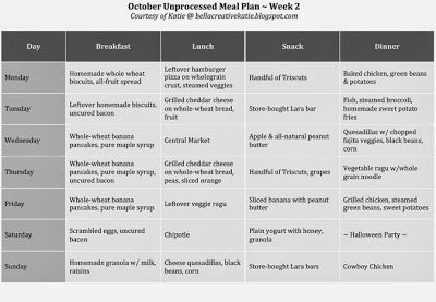 my October Unprocessed: Meal Plan 2 #unprocessed
