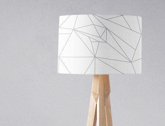 White Lampshade Grey Lampshadewhite Home Decor Modern Lamp Etsy White Lamp Shade Modern Lamp Shades Floor Lamp