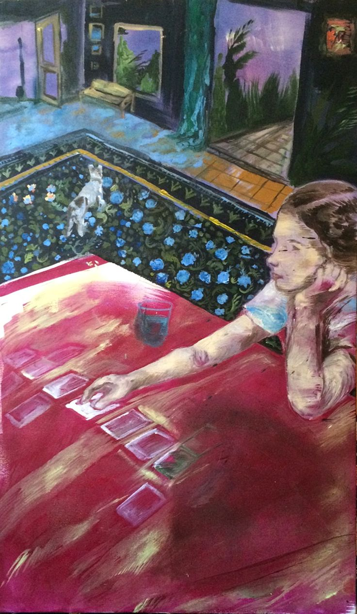 Karoliina Hellberg: A girl playing with cards, 2014, oil and acrylics on canvas