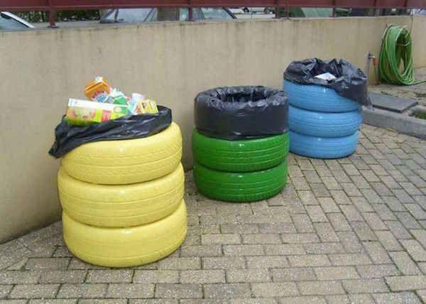 Pneus réutilisés en poubelle de recyclage