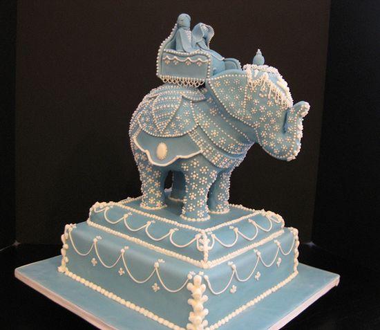 sculpted elephant indian wedding cake