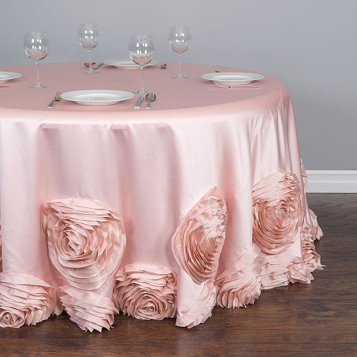 120 In Round Taffeta Rosette Tablecloth Blush Pink Pink Blush And Round Tablecloth
