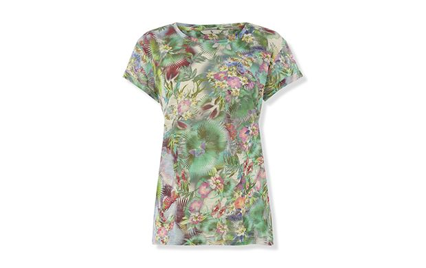 "Tropical Print Tee. ""Embrace print in this striking botanical t-shirt."""