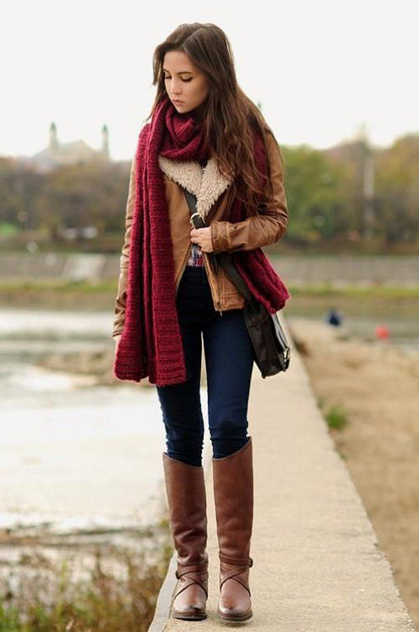 Charming looking winter get up. Highlight your scarf by wearing clothes that simply match it such as cream or brown colors for a red scarf and neutral blue colored jeans to blend into the combination.