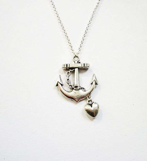 collier, pendentif ancre argent, collier ancre argent, Bijoux Collier ancre, pendentif ancre, charm coeur, coeur et ancrage, amour de l'ancre sur Etsy, $18.13 CAD